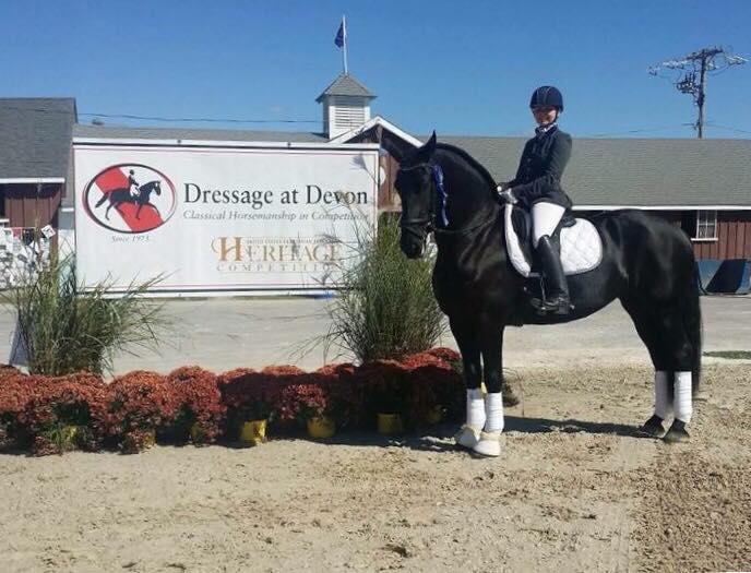 Janine Little and Ebony, after winning at Dressage at Devon in 2017.