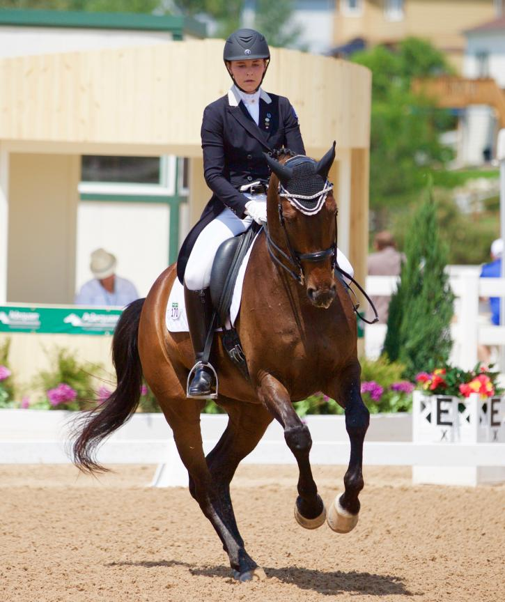 Emily Ferguson on Wrazzmatazz got 5th on a 67.211 and helped earn team silver yesterday (Photo: Sara Hellner)