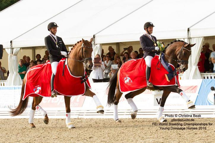 """Full sisters Fiontini and Fiontina Win FEI 5-Year-Old Championship.Photo © Christina Beak <a href=""""http://pferdezucht.de"""">pferdezucht.de</a><br />FEI World Breeding Championships for Young Dressage Horses 2015"""