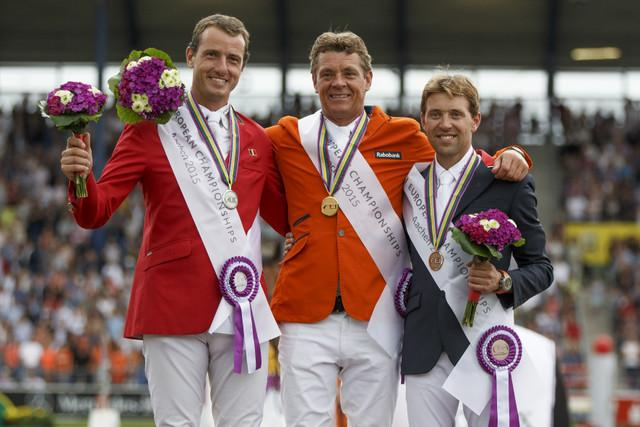 On the podium for today's FEI European individual Jumping Final in Aachen, Germany:<br />(L to R) Gregory Wathelet (BEL) silver, Jeroen Dubbeldam (NED) gold and Simon Delestre (FRA) bronze.<br />(Photo: Dirk Caremans)