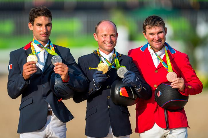 From Left to right Silver Astier Nicolas (FRA), Gold Michael Jung (GER) and Philip Dutton (USA) Bronze. (Photo: Arnd Bronkhorst)