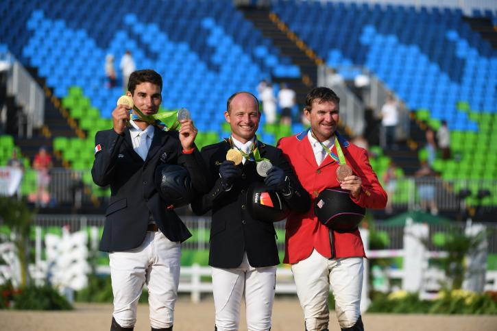 Individual Medals: Gold-Astier Nicolas (FRA), Silver-Michael Jung (GER) and Bronze-Phillip Dutton (USA) (Photo: Diana DeRosa)