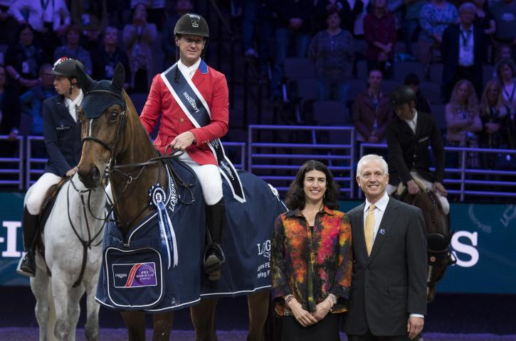 McLain WARD (USA) rides HH AZUR in the Longines FEI World Cup™ Jumping Final II , Omaha USA, March 31 2017 with Lisa Roskens (CEO Omaha Equestrian Foundation) & Murray Kessler (US Equestrian President) (Photo: Cara Grimshaw/FEI)