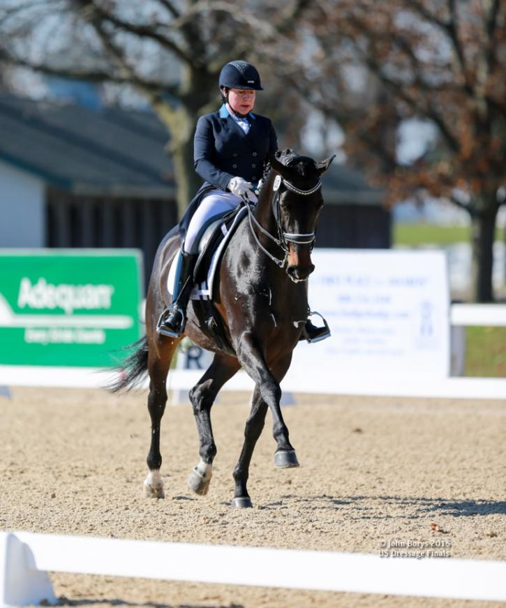 "Rebecca Knollman and Rocky Lane were the highest scoring FEI mare of the US Dressage Finals presented by Adequan, earning the Lloyd Landkamer Perpetual Trophy. <a href=""http://www.johnborysphotography.net/"" target=""_blank"">Photo by John Borys</a>"