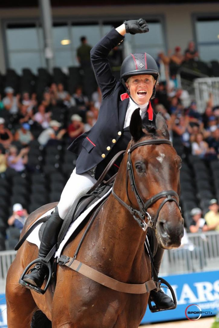 Ros Canter and Allstar B after they clinched Team and Individual Gold for Great Britain.