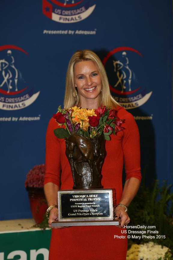 Sally Hayes with the Veronica Holt Trophy in honor of her mother. Photo: © Mary Phelps 2015