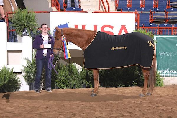 The Triple Crown High Point Western Horse award went to Sarah, owned by Alfred University.