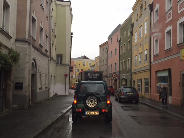 Trucks passing through Passau (barely)