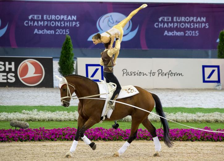 The reigning world and defending European champions, Jasmin Lindner and Lukas Wacha from Austria, clinched the Pas de Deux title once again the FEI European Vaulting Championships 2015 in Aachen, Germany today.<br />(Photo: FEI/Dirk Caremans)