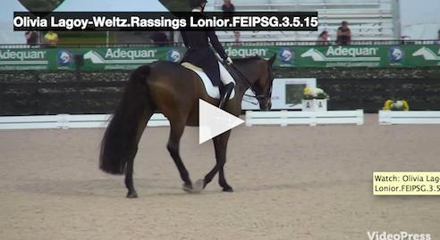 Watch the ride that scored a 74.185% for Olivia and Rassing's Lonoir.  Video courtesy of Campfield Videos
