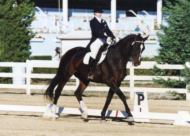 Ellie Rawle and Able Spirit in 1995 at Dressage at Devon<br />Photo: Terri Miller
