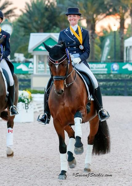 Tina and Fancy That winning the team bronze medal for Canada at the nations cup in Wellington, Florida in 2015.