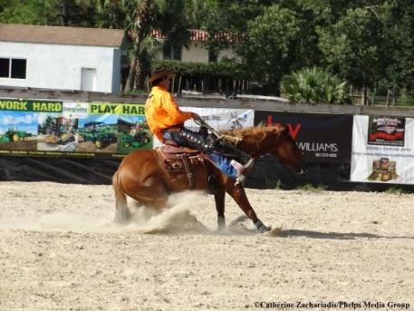Rick Steed and High Dollar perform bridleless at the August exhibition in Jupiter. Photo by Catherine Zachariadis.