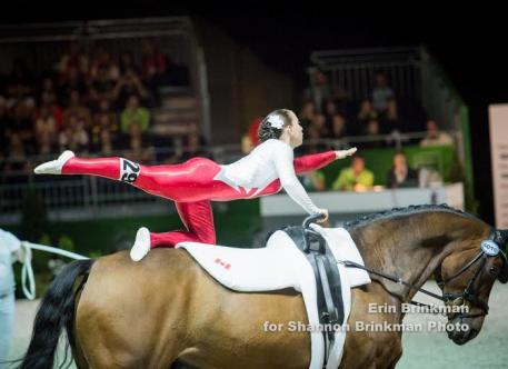 Alisa Schmidt of Chilliwack, BC competed in the FEI World Female Individual Vaulting Championship, scoring 6.318 for 32nd position after day one of competition.   Photo Credit: Erin Brinkman for Shannon Brinkman Photography