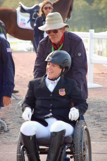 A delighted Roxanne Trunnell with her father, Sidney Trunnell, after her Grade Ia Freestyle aboard Nice Touch CREDIT: Jennifer Bryant