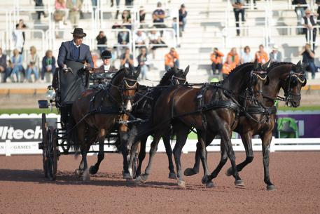 IJsbrand Chardon (NED) and his four-in-hand set the provisional winning score from the onset of todayÕs driven dressage competition at the Alltech FEI World Equestrian Gamesª 2014 in Normandy (Marie de Ronde-Oudemans/FEI)