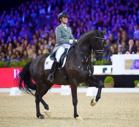 "Second in the FEI Reem Acra Dressage World Cup™ Amsterdam 2015 was Danielle Heijkoop riding ""Siro"". (Photo: FEI/Arnd Bronkhorst)"