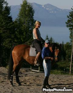 Sue and Cass Crandall our hostess in Homer. Nice view from her dressage arena!