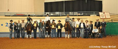 Para-Reining riders, owners, horses, sponsors at the 2013 Para-Reining Demonstration during the 2013 AQHA World Championship Show in Oklahoma City, OK. Photo by Lindsay Y. McCall