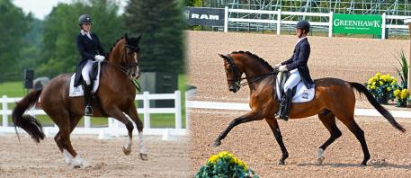 The Canadian Pan American Games Dressage Team's Small Tour riders, Brittany Fraser with All In (left) and Chris Von Martels with Zilverstar (right), are Canadian Dressage Athlete Assistance Program (C-DAAP) recipients (Left photo: Horse Junkies Unlimited; Right photo: Jessica Mendoza)