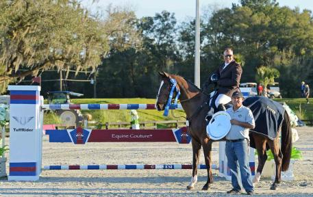 Aaron Vale and Quidam's Good Luck take the blue ribbon in Sunday's $50,000 Equine Couture/Tuff Rider Grand Prix at HITS Ocala. (c) ESI Photography