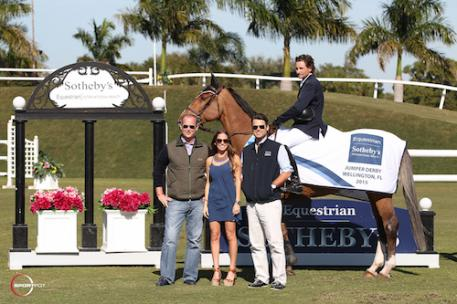 Adam Prudent and Vasco in their winning presentation with Thomas Baldwin, Casey Flannery and Ryan Beckett of Equestrian Sotheby's