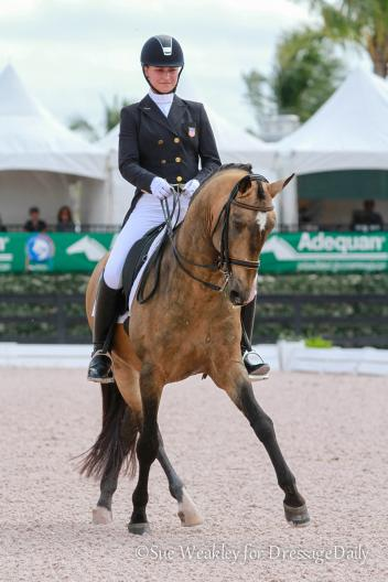 Adrienne Lyle during her winning ride on Zango, an 11-year-old PRE stallion owned by Leah Wilson. Photo: Sue Weakley