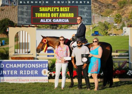 Boss, owned by Laura Wasserman, received the Shapley's Best Turned Out Award and groom Alex Garcia received a Shapley's gift basket of products. Left to right: Sally Stith-Burdette, John French, Alex Garcia, Sarah Fishback. Photo Credit: McCool Photography.
