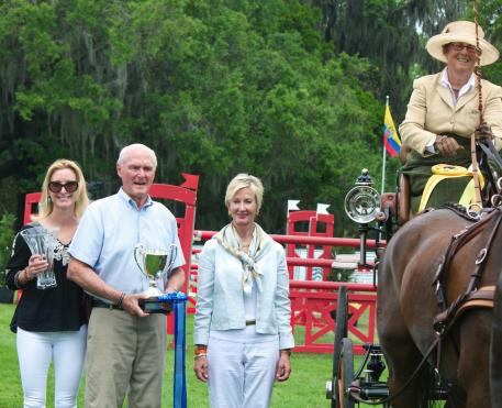 Allison Stroud is presented with the HORSE GYM USA® Top Equine Athlete Award at 2015 Live Oak International. From left to right: Juliet W. Reid of Live Oak International, Ned Bliss, USEF President Chrystine Tauber, and Allison Stroud