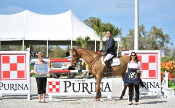 Angel Karolyi and Wings, owned by McLain Ward, Win the $50,000 Purina Animal Nutrition Grand Prix, Sunday, March 8, 2015, at HITS Ocala. (c) ESI Photography