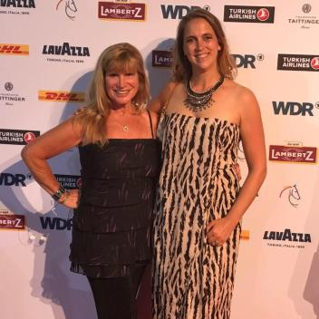 Horsesdaily's Mary Phelps and Astrid Appels at the 2017 Aachen media night.