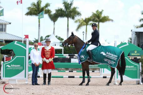 Adolpho Franco and Mia in their winning presentation with Kathy Serio for Adequan® and ringmaster Christian Craig