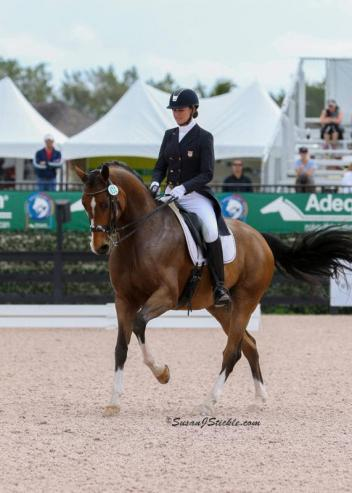 Adrienne Lyle, champion of last year's derby competition at the Palm Beach Dressage Derby at AGDF.