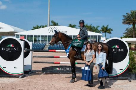 Alex Granato in his presentation ceremony with Kelly Molinari and Jessica Leto of Equiline