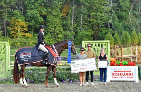 Allison Joyce and Boccaccio, owned by Nicole Manoog, winning the $250,000 Platinum Performance Hunter Prix Final.