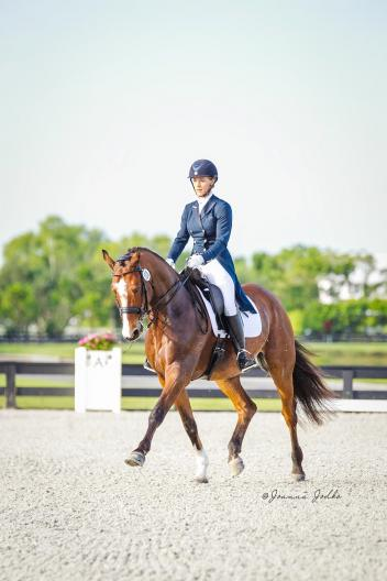 Amanda Lopez and Quantum dancing in the sunshine during the Gold Coast Dressage Summer Solstice Show.