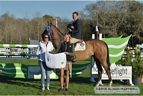 Andy Kocher and Ciana are greeted in the winner's circle by Awards Coordinator Drew Coster and Sponsorship Director, Lisa Engel