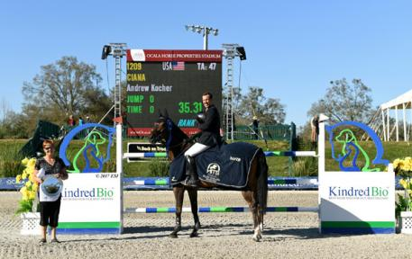 Andy Kocher and Ciana winning the $50,000 FEI KindredBio Grand Prix.