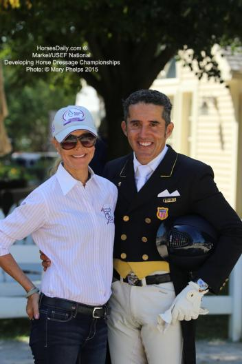 Coach Anne Gribbons with Dr. Cesar Parra at the Markel/USEF Developing Horse Championships 2015