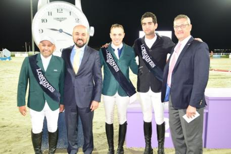 At the last qualifier of the FEI World Cup™ Jumping Arab League in Al Ain (UAE) last weekend: (L to R) Saudi Arabia's Ramzy Al Duhami who finished third on the league leaderboard; Patrick Aoun, Longines Regional Brand Manager Middle East; Saudi Arabia's Abdullah Alharbatly who won the League for the second year in succession; Egypt's Mohamed Talaat who was runner-up in the series: Karim Badaro, FEI World Cup™ Jumping Arab League Coordinator.