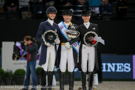"""The winners - (L-R) Jessica von Bredow-Werndl, the """"Queen"""" Isabelle Wert and Laura Graves. (Photo: Annan Hepner/Phelps Media Group)"""