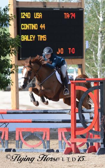 Bailey Tims jumped to the win on Contino 44 in the Premier Equestrian 1.10m Training Jumper Division at the Colorado Horse Park (Photo: Flying Horse Photography)