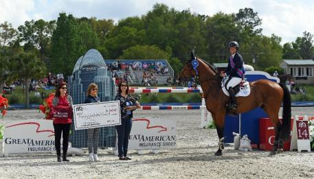 Beezie Madden and COACH, winners of the 2018 Great American  Million Grand Prix.