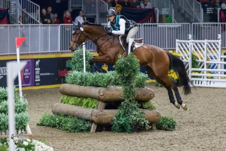 Toronto's Brandon McMechan was the runner-up in the $20,000 Horseware Indoor Eventing Challenge riding Oscar's Wild.