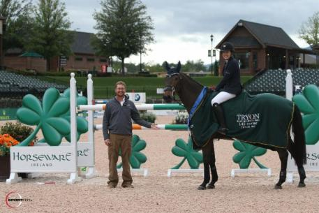 Brianne Goutal and Onira in their presentation ceremony with Assistant Show Manager Lance Bennett.
