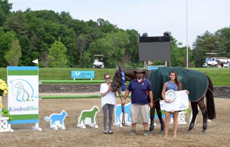 Calais, owned by Sharon Funthel & Triton Ventures, presented with the award for the 5,000 KindredBio Jumper win.