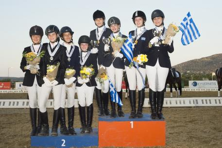 Dressage Balkan Championship Team Children.(From right to left) Greece Gold Medal: Sidira Despoina, Algiannaki Foivi, Retsou Eirini, Fragiadaki Natalia . Bulgaria Silver Medal: Georgieva Ivet, Hristozova Ava, Naydenova Madlin, Skedkova Yasna