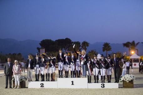 Podium Children 1. Russia, 2. France, 3. Spain European Championships Dressage 2016 Pic Leanjo de Koster
