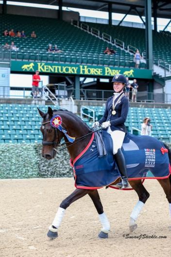 Helen Claire McNulty won the Junior Individual Dressage gold medal with Checkmate