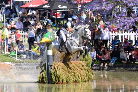 New Zealand rider Clarke Johnstone rode Rob, Jean and Shona Johnstone's, Balmoral Sensation to hold third place going into the showjumping phase.